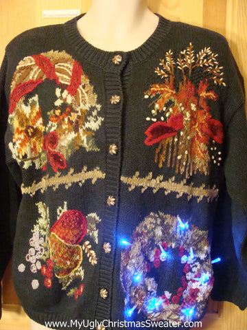 Need to Buy Christmas Sweaters? Green Cardigan Light Up Sweater
