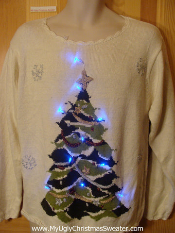 Need to Buy Christmas Sweaters? Ivory Light Up Sweater with Huge Tree