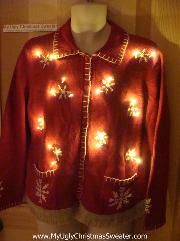 Tacky Ugly Christmas Sweater with Lights and Fringe (g67)