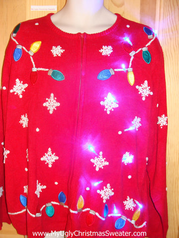 Red Light Up Ugly Christmas Sweater in Womens Mens XXXL