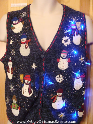 Need to Buy Christmas Sweaters? Light Up Sweater Vest with Snowmen