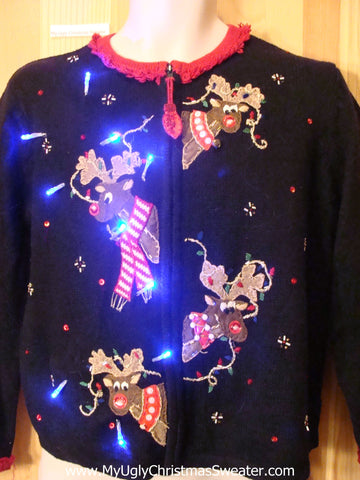 Peaking Reindeer Black Festive Light Up Sweater