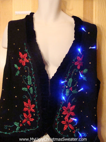 Need to Buy Christmas Sweaters? Light Up Sweater Vest with Poinsettias
