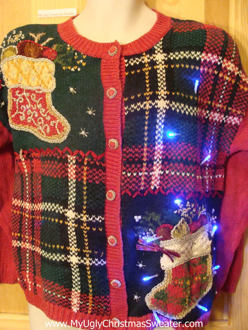 Need to Buy Christmas Sweaters? Red Plaid Light Up Sweater