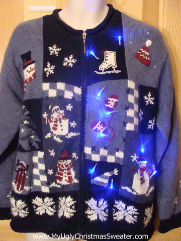 Need to Buy Christmas Sweaters? Ice Skate and Mittens Light Up Sweater