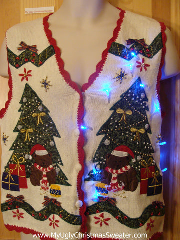Need to Buy Christmas Sweaters? Light Up Sweater Vest with Festive Trees