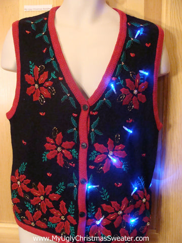 Need to Buy Christmas Sweaters? Light Up Sweater Vest with Bling Poinsettias