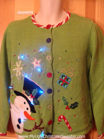 Lime Green Cardigan Light Up Xmas Sweater with Candy Canes and Snowman