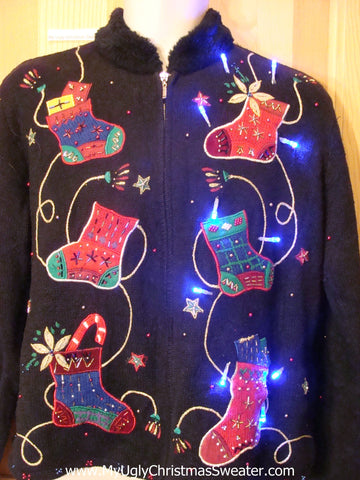 Black Bling Stockings Zip Front Light Up Xmas Sweater