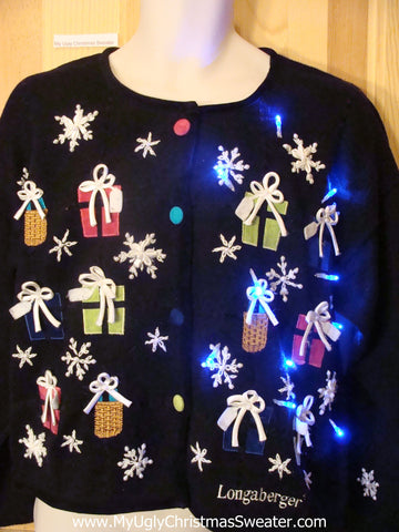 Light Up Xmas Sweater with Colorful Gifts and Buttons