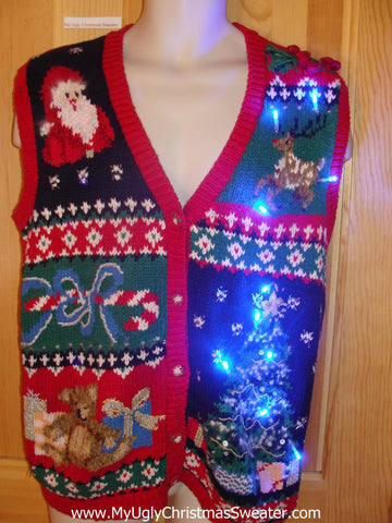 Need to Buy Christmas Sweaters? Light Up Sweater Vest with Reindeer, Bear