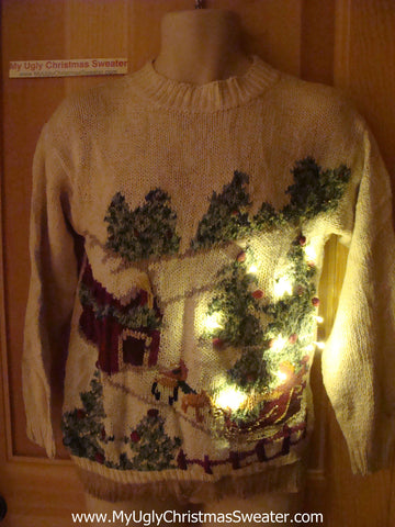 Tacky Ugly Christmas Sweater Winter Wonderland 80s Style with Lights and Fringe (g69)