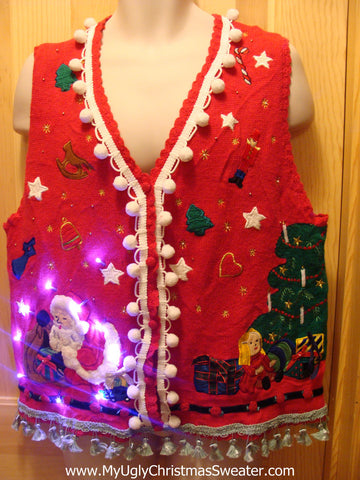 Tacky Ugly Christmas Sweater Vest with Lights and Fringe (g6)