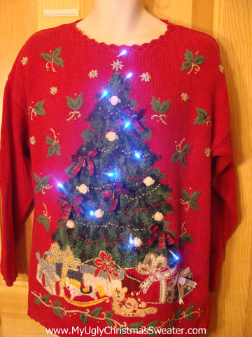 Red Tacky Light Up Christmas Sweater and Huge Tree