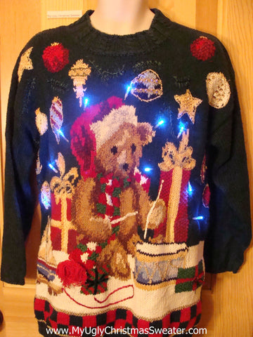Holy Grail of Tacky Light Up Christmas Sweater Santa Bear