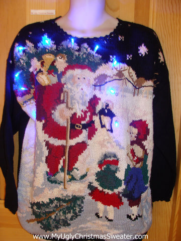 80s Best Festive Tacky Light Up Christmas Sweater