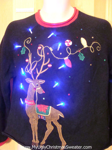 Festive Reindeer Pullover Tacky Light Up Christmas Sweater