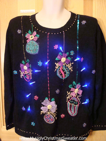 Tacky 80s Light Up Christmas Sweater and Bling