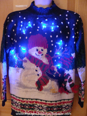 Snowman Pullover 2sided Tacky Light Up Christmas Sweater
