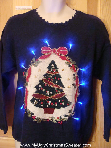 Tacky Light Up Christmas Sweater Pullover Tree and Red Bow