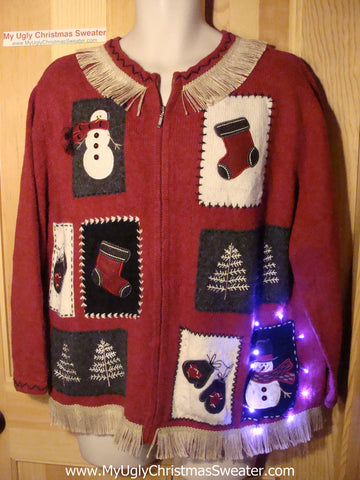 Tacky Ugly Christmas Sweater with Lights and Fringe (g70)