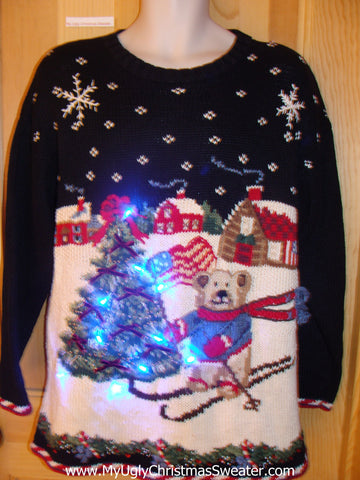Tacky Light Up Christmas Sweater Skiing Bear Pullover