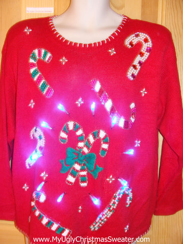 Tacky Light Up Christmas Sweater and Bling Candycanes 80s Padded Shoulders
