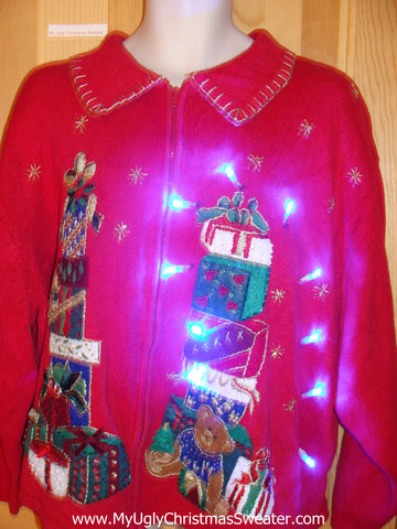 Tacky Light Up Christmas Sweater Bling Gifts Wms Mens XXXL