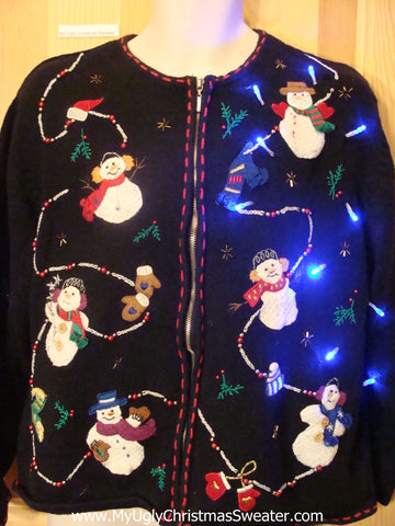 Tacky Light Up Christmas Sweater with Happy Snowmen Front and Back