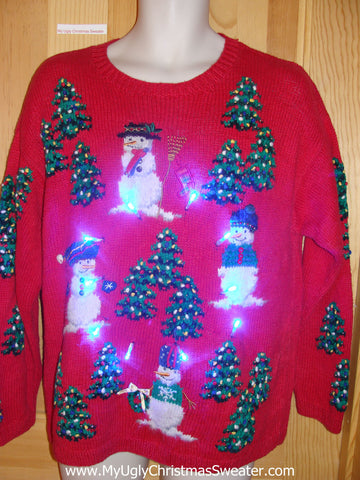 Tacky Light Up Christmas Sweater Snowmen Trees Front, Back and Sleeves