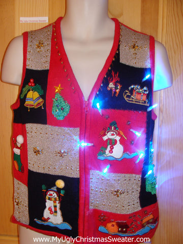Tacky Xmas Sweater Vest with Lights Snowmen Front, Tree Back