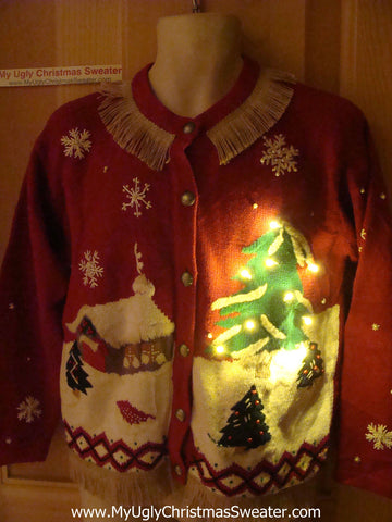 Tacky Ugly Christmas Sweater Winter Wonderland with Lights and Fringe (g71)