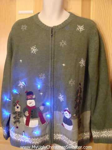 Tacky Green Light Up Christmas Sweater 2sided Birdhouse Winter Theme