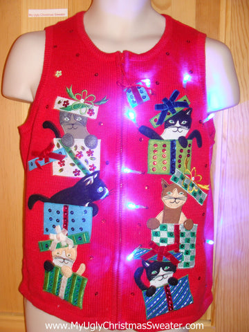 Crazy Cat Lady Tacky Xmas Sweater Vest with Lights Bling Gifts