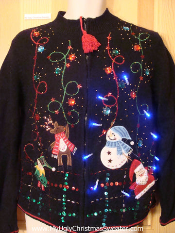 Tacky Light Up Christmas Sweater Bling Two Sided Snowmen
