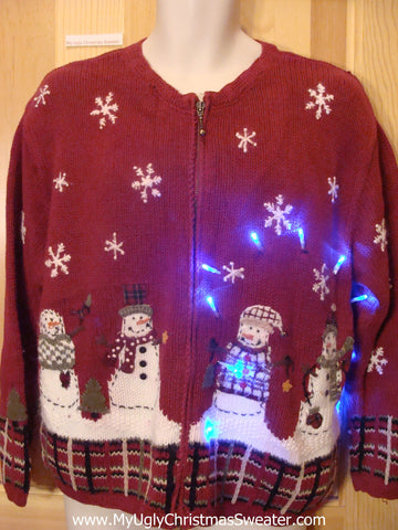 Tacky Red Light Up Christmas Sweater Snowmen and Plaid Trim