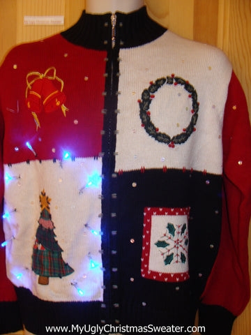 Tacky Light Up Christmas Sweater Tree, Wreath, Bells, Snowflake