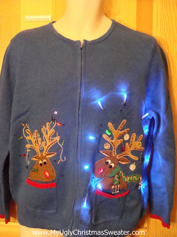 Tacky Blue Light Up Christmas Sweater Two Crazy Reindeer