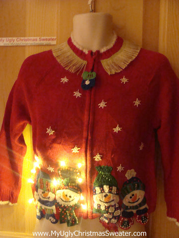 Tacky Ugly Christmas Sweater Happy Carrot Nosed Snowmen with Lights and Fringe (g72)