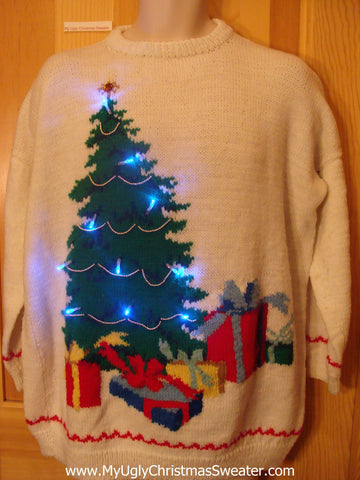 Tacky Light Up Christmas Sweater 80s Tree with Gifts