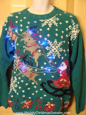Holy Grail 80s Tacky Light Up Christmas Sweater Reindeer and Santa