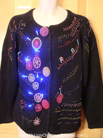 Tacky Light Up Christmas Sweater 80s Cardigan with Bead Bling