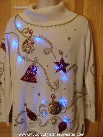 Tacky Light Up Christmas Sweater 80s Bling Stars, Bells, Ornaments