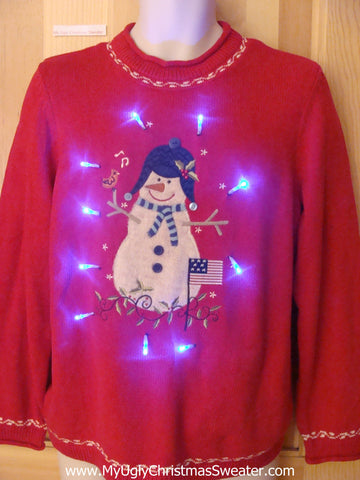Tacky Red Light Up Christmas Sweater Huge Snowman Pullover