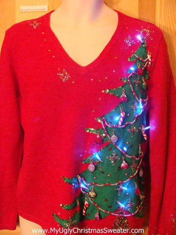 Tacky Red Light Up Christmas Sweater 80s Pullover with Green Bling Tree
