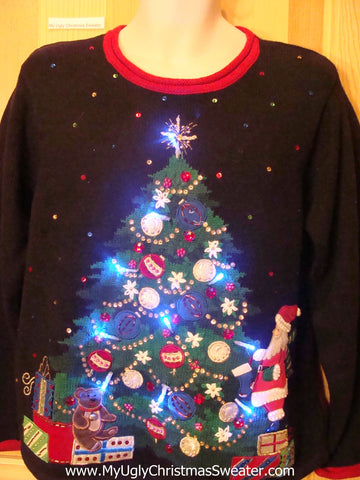 Tacky Light Up Christmas Sweater Pullover Huge Festive Tree with Bling