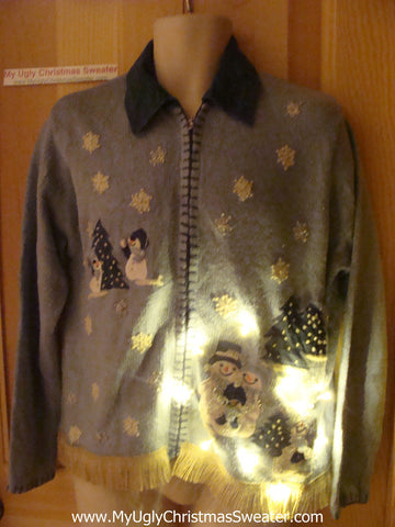 Tacky Ugly Christmas Sweater with Lights and Fringe (g73)
