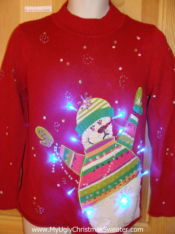 Tacky Red Light Up Christmas Sweater Pullover Snowman Bling