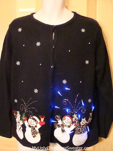 Tacky Light Up Christmas Sweater Cardigan with Snowmen