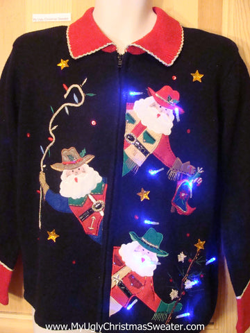 Cowboy Western Santa Tacky Light Up Christmas Sweater